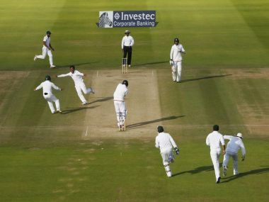 Pakistan players celebrate the fall of the last England wicket. Reuters