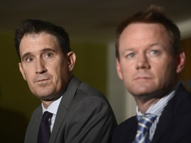 File photo of Cricket Australia Chief Exective James Sutherland and Executive General Manager of Team Performance Pat Howard. Reuters