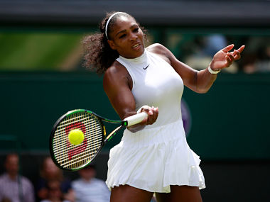 Serena Williams plays a forehand during the Ladies Singles third round match against Annika Beck. Getty