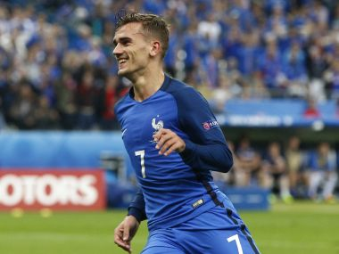 France's Antoine Griezmann celebrates after scoring his side's fourth goal during the Euro 2016 quarterfinal match against Iceland. AP