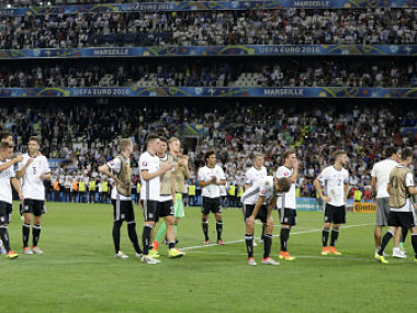 Germany players after losing the semi-final against France. AP