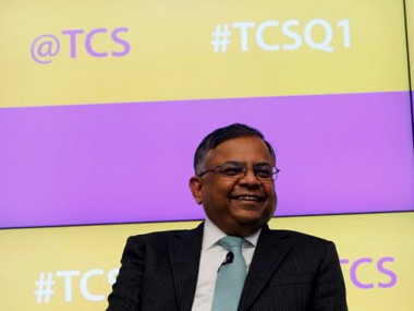 Tata Consultancy Services (TCS) Chief Executive N. Chandrasekaran during a news conference in Mumbai. Reuters