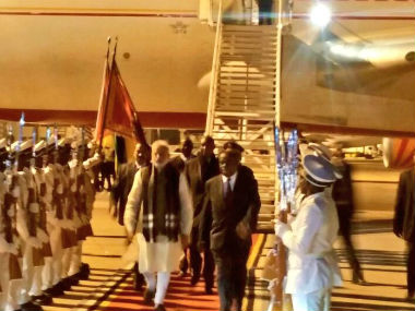 PM Modi arrives in Mozambique. Image: Twitter