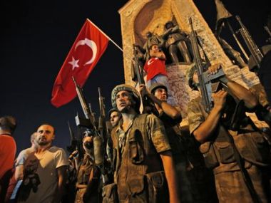 Turkish soldiers in Istanbul's Taksim square on Saturday. AP