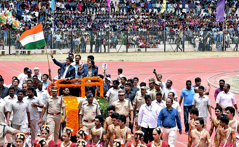 Olympic silver medallist P V Sindhu arrived home, at the Hyderabad International Airport, on Monday to a grand welcome gala. Amid scenes of jubilation and loud cheers from scores of people, Sindhu, accompanied by coach Pullela Gopichand, was greeted by her parents – P V Ramana and P Vijaya – alongside top politicians, who jostled to shower the Olympian with flowers, present her with shawls and click selfies with the first Indian woman to win a silver medal at the Games. PTI