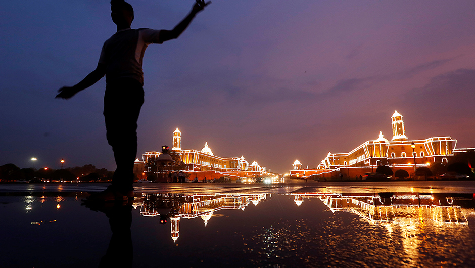 On the eve of India's Independence Day celebrations, Raisina Hills in New Delhi has become a photographic spot. Reuters