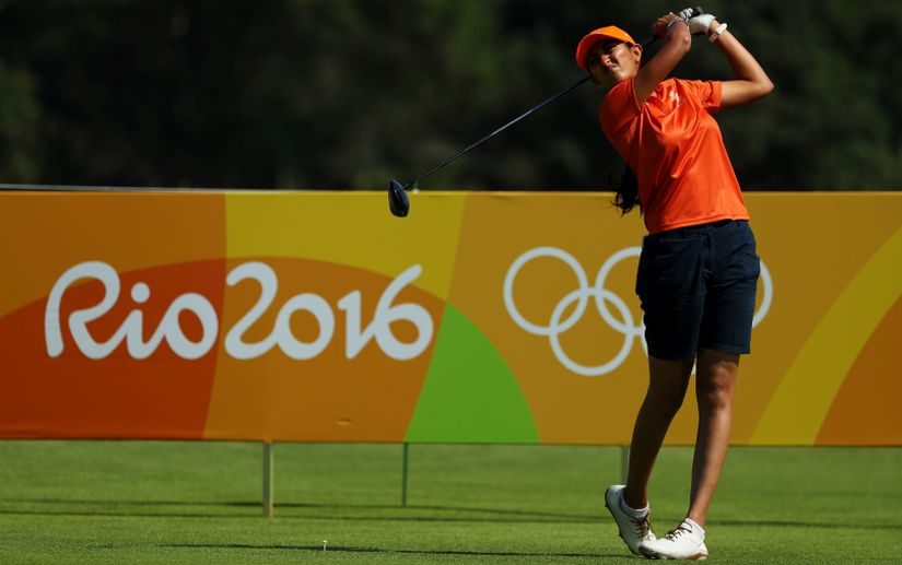 Aditi Ashok plays her shot from the third tee. Getty Images