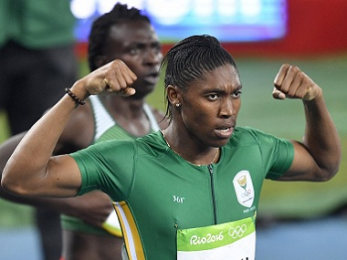 South Africa's Caster Semenya celebrates winning the gold medal in the women's 800-metre final. AP