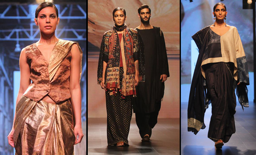 (L-R) Designs from Hemang Agrawal, Bina Rao for Creative Studio and Weavers Studio. Image Courtesy: Lakme Fashion Week/Facebook.