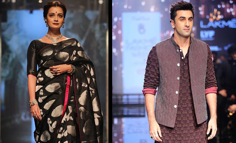 (From Left to Right) Dia Mirza for Tulsi Silks and Ranbir Kapoor for Kunal Rao. Image courtesy: Lakme Fashion Week/Facebook.