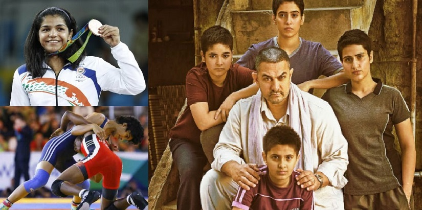 (Clockwise from top left) Sakshi Malik; poster of Aamir Khan's 'Dangal', which tells the story of Mahavir Singh Phogat and his wrestling champion daughters; Vinesh Phogat on the mat