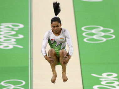 Dipa Karmakar in action during the vault event during the women's qualifiers. Reuters