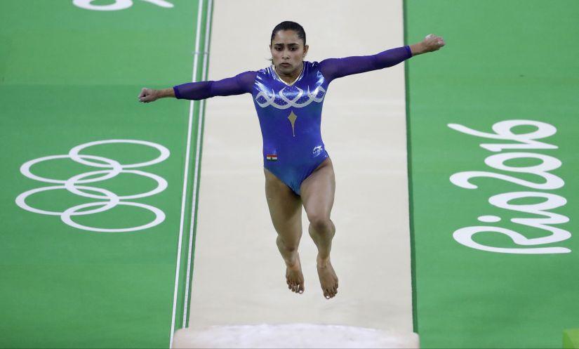 Dipa Karmakar performs on the vault during the artistic gymnastics women's apparatus final at the Olympics. AP