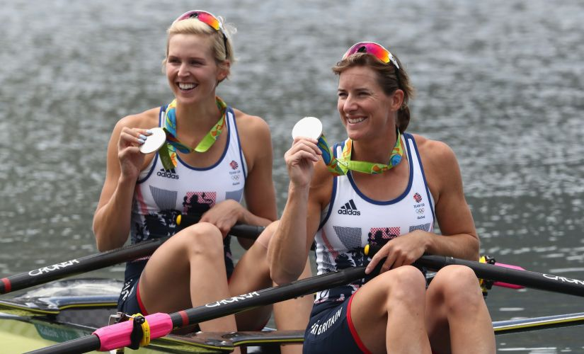 Victoria Thornley and Katherine Grainger pose with their silver medals after finishing second. Getty