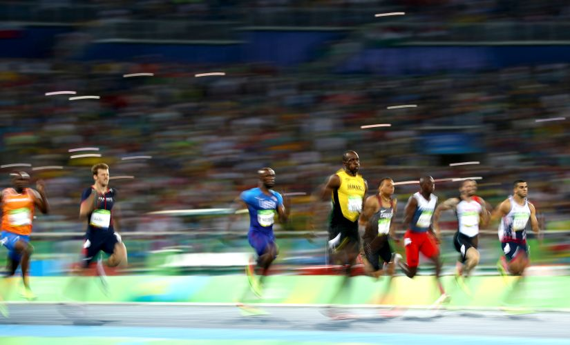 Usain Bolt during the Men's 200m Final. Getty