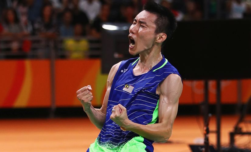 Chong Wei Lee celebrates after defeating Dan Lin during the Men's Singles Badminton Semi-final. Getty