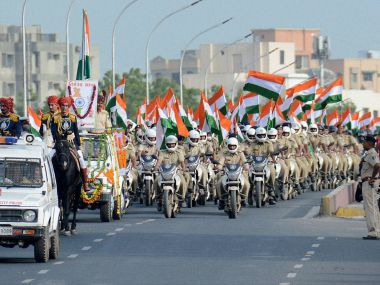 Preparations on for Independence Day celebrations in Ahmedabad. PTI