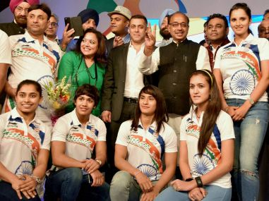 File photo of Salman Khan with Rio 2016 bound players in New Delhi before their send-off. PTI