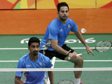 Manu Attri and B Sumeeth Reddy (front) in action during their doubles fixture on Day 7 of the Rio Olympics. AP