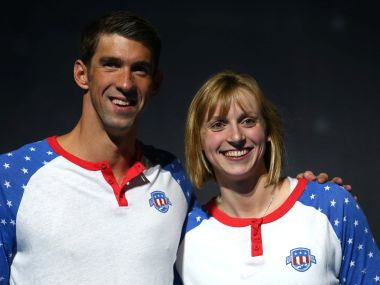 Katie Ledecky and Michael Phelps. Getty