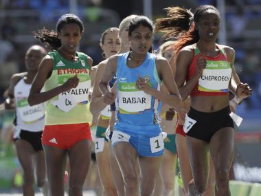 Lalita Babar competes in a women's 3000-meter steeplechase heat. AP