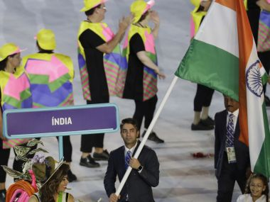 Indian contingent during Rio Olympics opening ceremony. AP