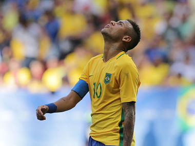 Brazil's Neymar reacts after missing a chance at the Olympics. AP
