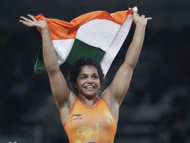 Sakshi Malik reacts after winning bronze against Aisuluu Tynybekova. AP