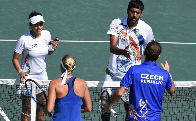 Sania Mirza and Rohan Bopanna after their mixed-doubles loss in the Olympics. PTI