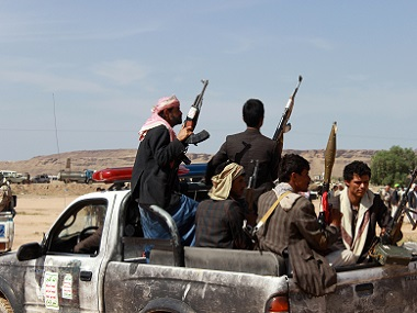 Members of the Houthi movement patrol an area in Saada, Yemen. Reuters