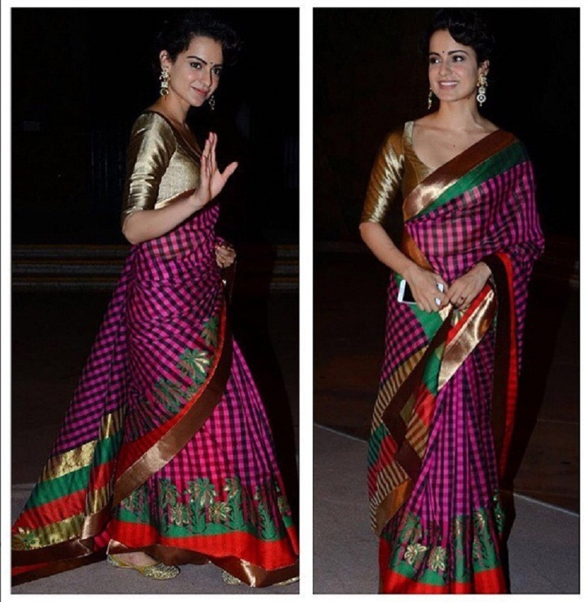 In a handloom sari. Image courtesy Manish Malhotra, Instagram