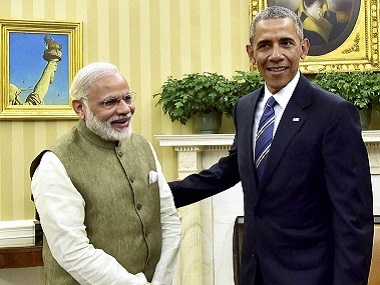 File image of Prime Minister Narendra Modi with US  president Barack Obama  during a meeting in the Oval Office of the White House. PTI