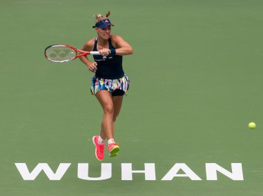 Angelique Kerber in action against Kristina Mladenovic at Wuhan Open. AP