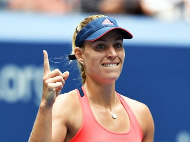 Angelique Kerber gestures after beating Roberta Vinci. AFP