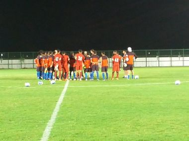 India's U-16 football team in a hurdle during their practice. Image courtesy: Twitter/Aiffmedia