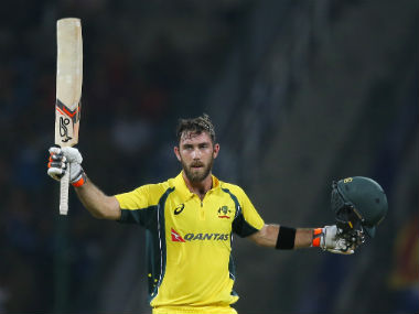 Glenn Maxwell celebrates his century against Sri Lanka. AP
