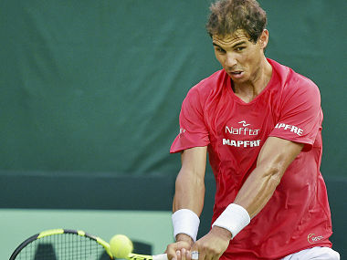 Spain's Rafael Nadal plays during a practice session ahead of the Davis Cup tennis tie against India. AP