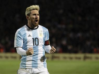 Lionel Messi celebrates his goal. AP