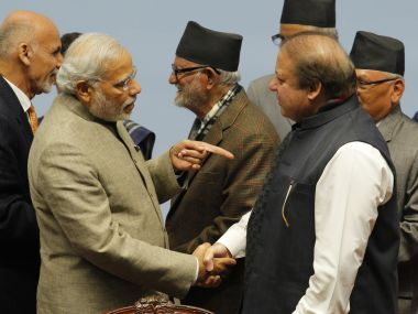 Prime MInister Narendra Modi with his Pakistani counterpart Nawaz Sharif. File photo. AFP