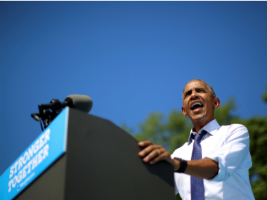 US President Barack Obama during a campaign event in Philadelphia on Tuesday. Reuters
