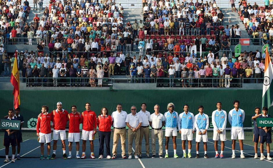 The Davis Cup teams of India and Spain Davis Cup in New Delhi. PTI