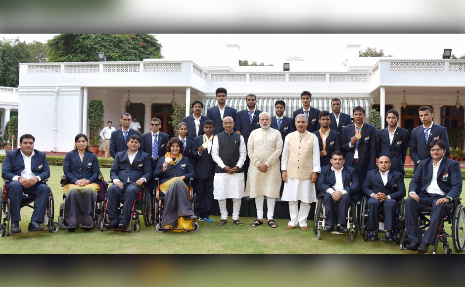 Prime Minister Narendra Modi meets with the participants of the Rio Paralympics 2016, in New Delhi on Thursday. Sports minister Vijay Goel and MoS & PCI president Rao Inderjit Singh were also present. PTI