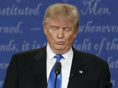 Republican US presidential nominee Donald Trump reacts during the first presidential debate. Reuters