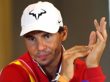 Spain's Rafael Nadal during the draw ceremony of tie against India. PTI