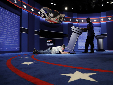 The lecterns on stage at Hofstra University get ready for the primetime debate on Sep 26