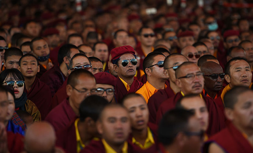 , Buddhist monks attend prayer during the Naropa festival, popularly known as the 'Kumbh Mela of the Himalaya'. Reuters