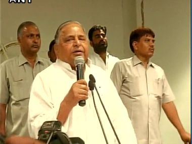 Party supremo Mulayam Singh Yadav at SP headquarters in Lucknow. Image courtesy: @ANI_news