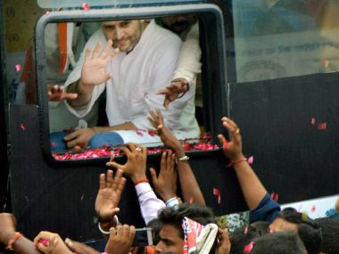 Congress vice-president Rahul Gandhi during his roadshow in UP. PTI