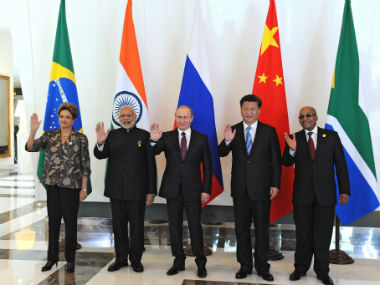 (From left) Brazil's President Dilma Rousseff, PM Narendra Modi, Russian President Vladimir Putin, Chinese President Xi Jinping and South African President Jacob Zuma. Reuters