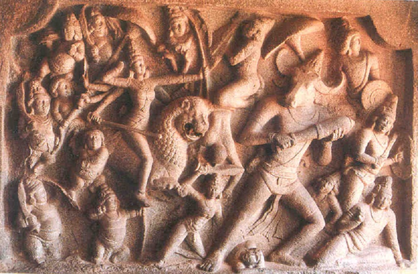Durga engaged in combat with Mahisha, reminiscent of our own internal combat. Sculpture at Mammallapuram Caves, India. Image courtesy: columbia. edu